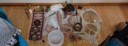Woman using sound meditation equipment